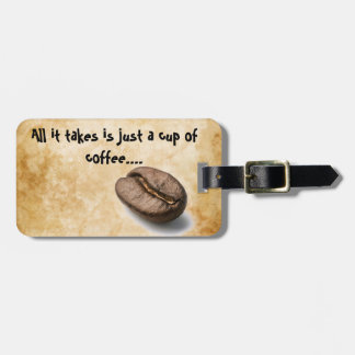 Coffee cup tag for luggage