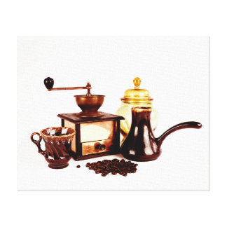 Coffee cup, vintage coffee milll and coffee beans canvas print