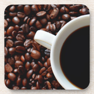 Coffee Cup with Coffee, Coffee Beans Beverage Coasters