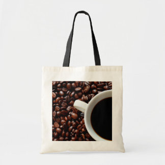Coffee Cup with Coffee, Coffee Beans Tote Bag