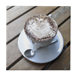 Coffee cup with cream ceramic tile
