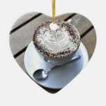 Coffee cup with cream Double-Sided heart ceramic christmas ornament