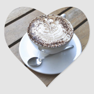 Coffee cup with cream heart sticker