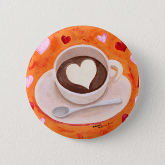 Coffee Cup with Hearts Button