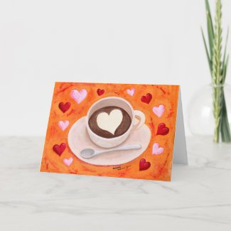 Coffee Cup with Hearts Cards
