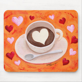 Coffee Cup with Hearts Mousepads