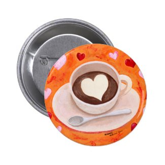 Coffee Cup with Hearts Pinback Buttons