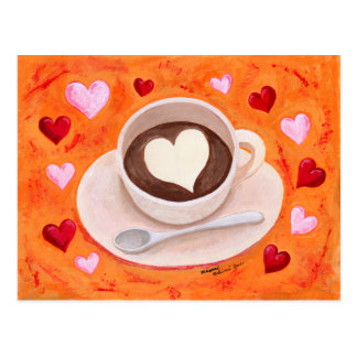 Coffee Cup with Hearts Postcard