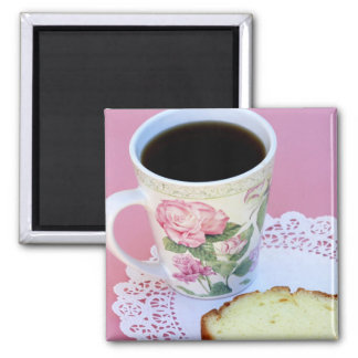 Coffee Cup with Roses 2 Inch Square Magnet