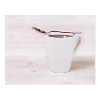 Coffee cup with spoon postcard