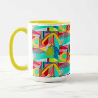 Coffee cup with yellow interior and modern design