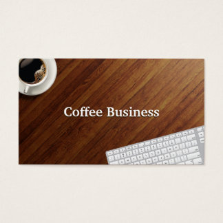 Coffee Cup Wood Background Coffee Business Card