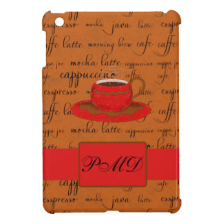Coffee Cup & Words Brown & Red Monogrammed iPad Mini Cover