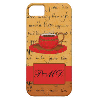 Coffee Cup & Words Gold, Brown & Red Monogrammed iPhone SE/5/5s Case