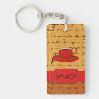 Coffee Cup & Words Gold, Brown & Red Monogrammed Keychain