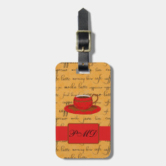 Coffee Cup & Words Gold & Red Monogrammed Bag Tag