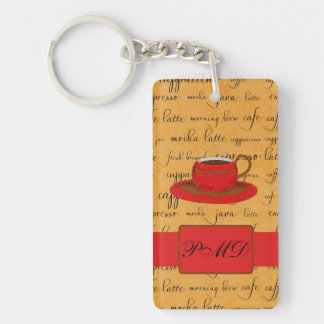 Coffee Cup & Words Gold & Red Monogrammed Keychain