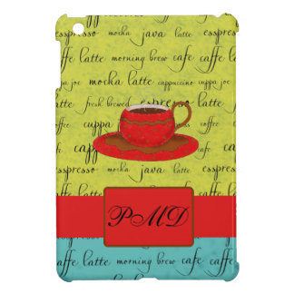 Coffee Cup Words Green, Turquoise  & Red Monogram Cover For The iPad Mini