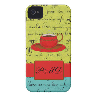 Coffee Cup Words Green, Turquoise  & Red Monogram iPhone 4 Case