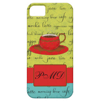 Coffee Cup Words Green, Turquoise  & Red Monogram iPhone SE/5/5s Case