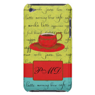 Coffee Cup Words Green, Turquoise  & Red Monogram iPod Touch Case-Mate Case