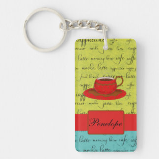 Coffee Cup Words Green, Turquoise  & Red Monogram Keychain