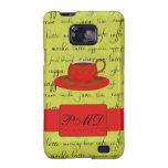 Coffee Cup & Words Lime Green  & Red Monogrammed Galaxy S2 Case