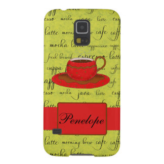 Coffee Cup & Words Lime Green  & Red Monogrammed Galaxy S5 Cover