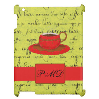 Coffee Cup & Words Lime Green & Red Monogrammed iPad Case