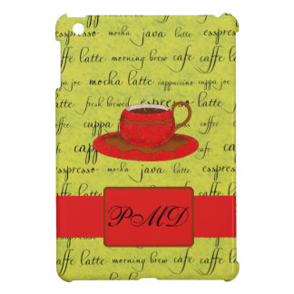 Coffee Cup & Words Lime Green & Red Monogrammed iPad Mini Cover