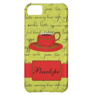 Coffee Cup & Words Lime Green  & Red Monogrammed iPhone 5C Case