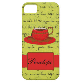 Coffee Cup & Words Lime Green  & Red Monogrammed iPhone SE/5/5s Case