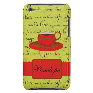 Coffee Cup & Words Lime Green  & Red Monogrammed iPod Touch Case-Mate Case
