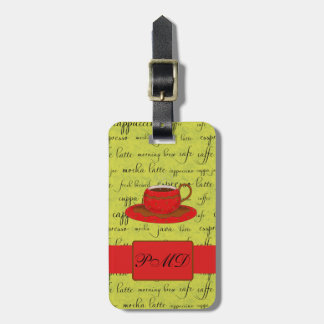 Coffee Cup & Words Lime Green & Red Monogrammed Luggage Tag