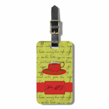 Coffee Themed Coffee Cup & Words Lime Green & Red Monogrammed Luggage Tag