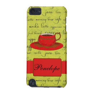 Coffee Cup Words Lime Green Red Monogrammed Name iPod Touch 5G Case