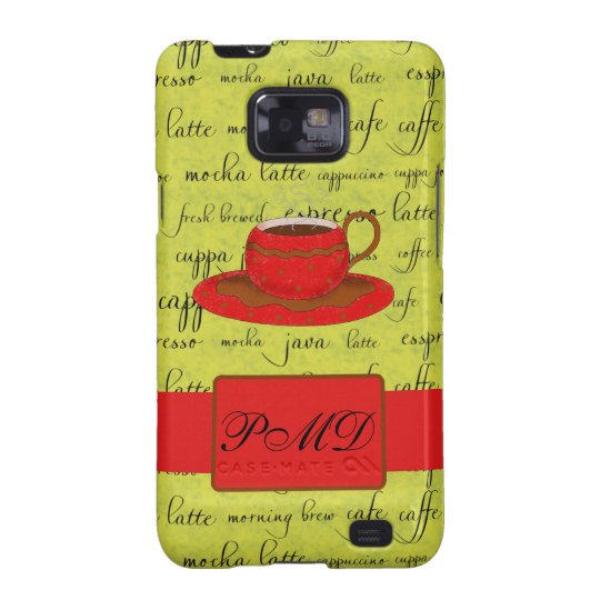 Coffee Cup & Words Lime Green  & Red Monogrammed Samsung Galaxy S2 Cover