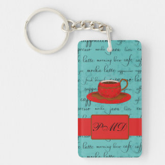 Coffee Cup & Words Turquoise  & Red Monogrammed Keychain