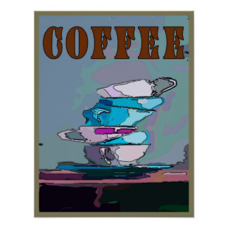 Coffee Cups Abstract Poster