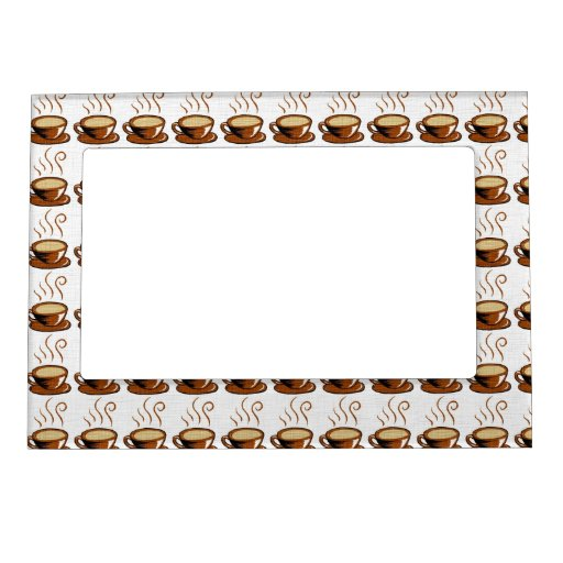 Coffee Cups Background Magnetic Picture Frame