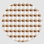 Coffee Cups Background Round Stickers
