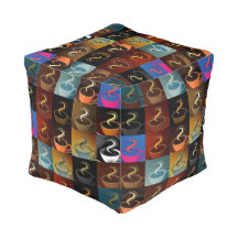 Coffee cups cube pouf