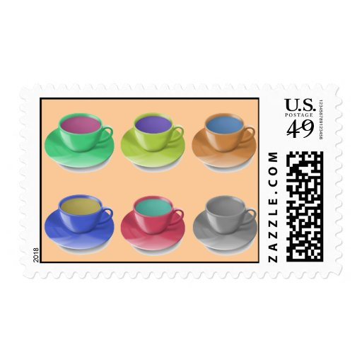 Coffee Cups Popart Postage Stamps