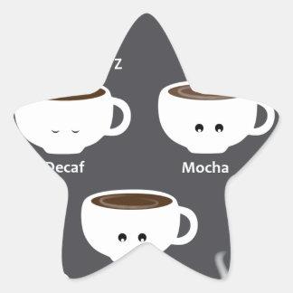 Coffee cups star sticker