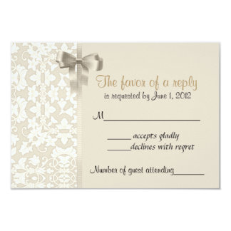 Coffee Damask RSVP Cards Personalized Announcements