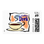 Coffee Diva Postage Stamp