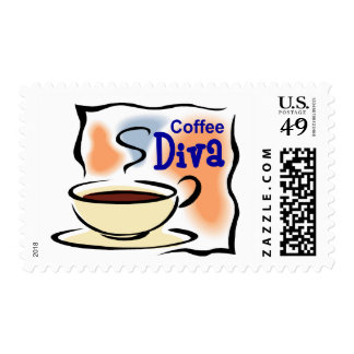 Coffee Diva Postage Stamps