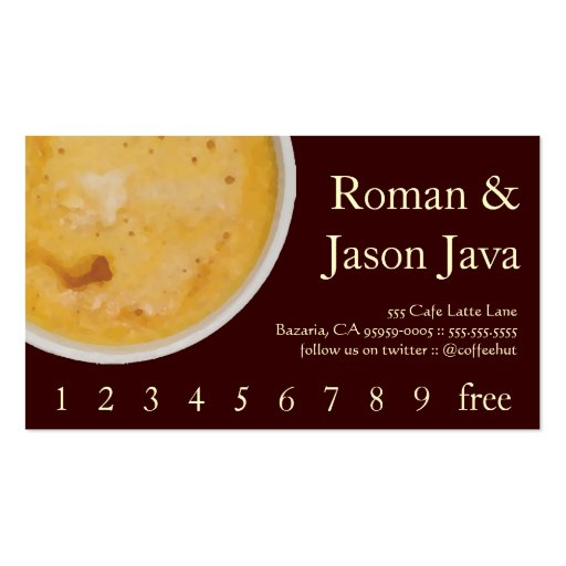 Coffee Drink Loyalty / Punch Card Business Card