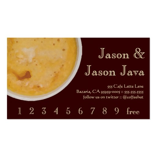 Coffee Drink Loyalty / Punch Card Business Card Template