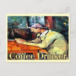 Coffee Drinker Sign postcard